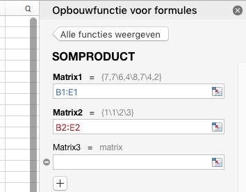 Uitleg hoe je de SOMPRODUCT functie in Excel invult.