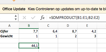 Uitkomst SOMPRODUCT in Excel.