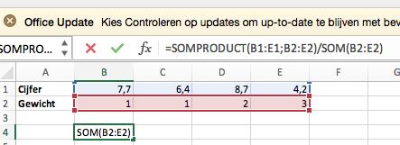 Het berekenen van het gewogen gemiddelde na het bepalen van de SOMPRODUCT
