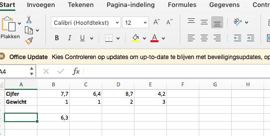 Berekenen gewogen gemiddelde in Excel.