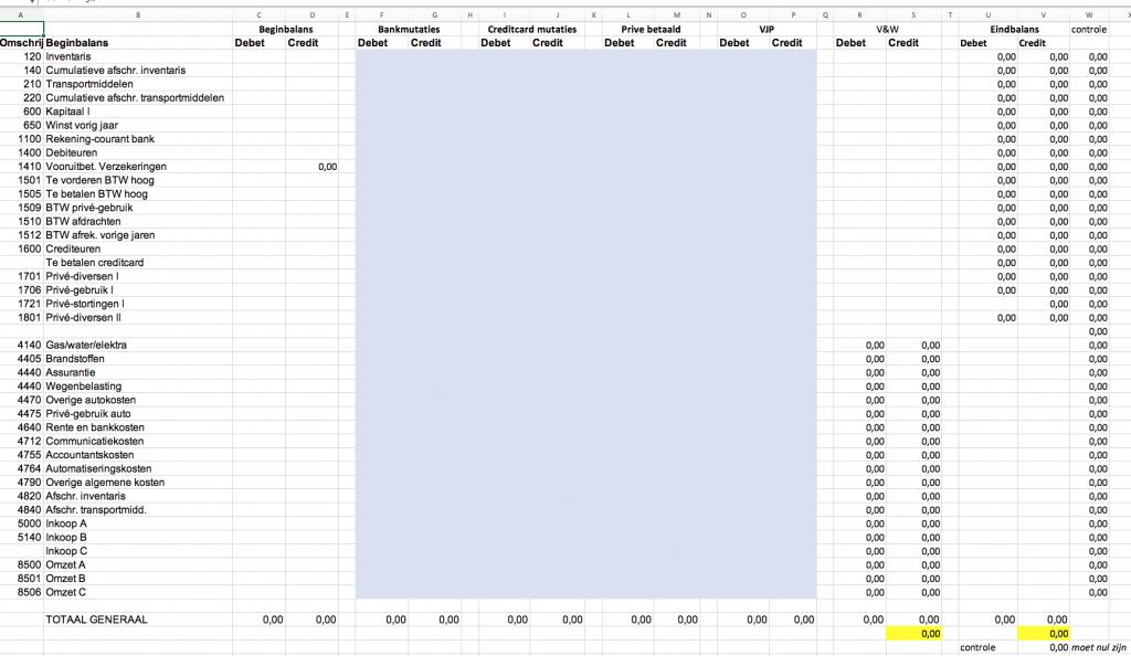 Een kolommenbalans in Excel