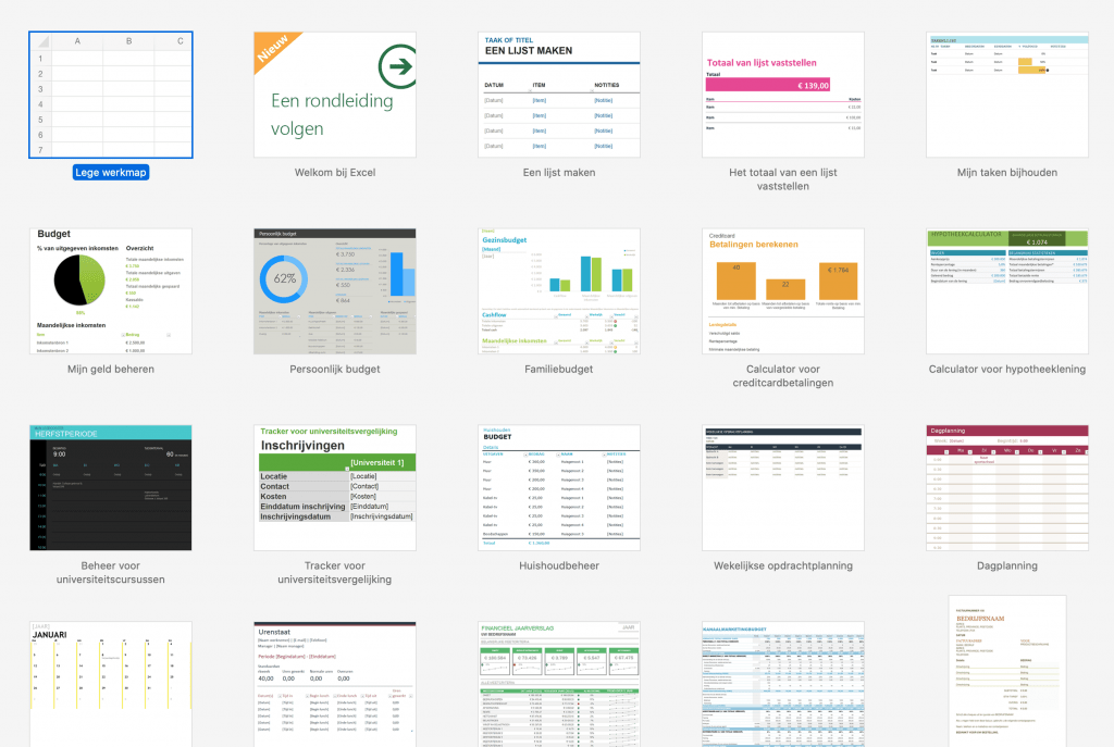 Overzicht van handige sjablonen in Excel.