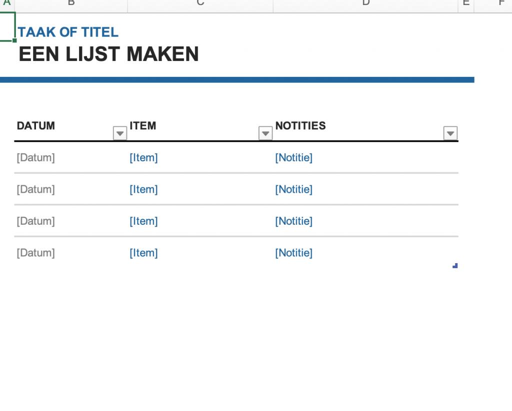 """Voorbeeld van het sjabloon """"Een lijst maken"""" in Excel."""