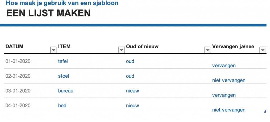 Voorbeeld van gebruik handig sjabloon in Excel.
