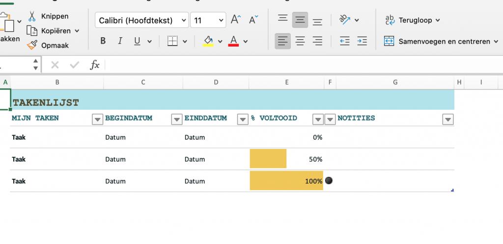 Sjabloon takenlijst Excel