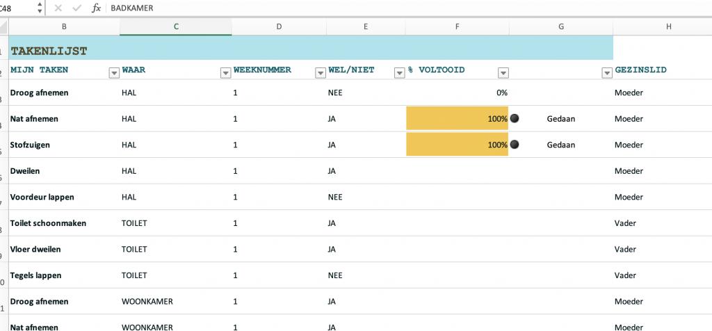 Handig huishoudschema maken in Excel