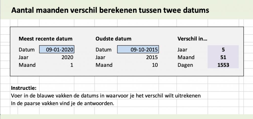 Voorbeeld van een rekenblad om het aantal jaren, maanden en dagen in Excel te berekenen.